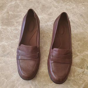 Clarks Brown Wedge Heel Slip on Loafer  8.5